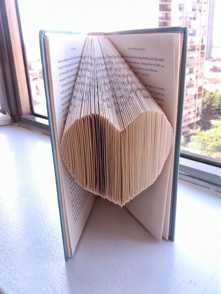 DIY heart folded book art