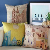 Voyage Impression oreiller, Creative arts Grèce illustrateur coussin, taie d'oreiller, coussin de canapé Oreillers décoratifs pour la maison