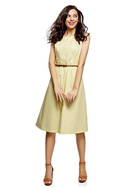 oodji Ultra Damen Ärmelloses Kleid mit Seitentaschen, Gelb, DE 32   EU 34    XXS - Sommer Hosen Trends sommer outfit damen urla… d44d7f78ac