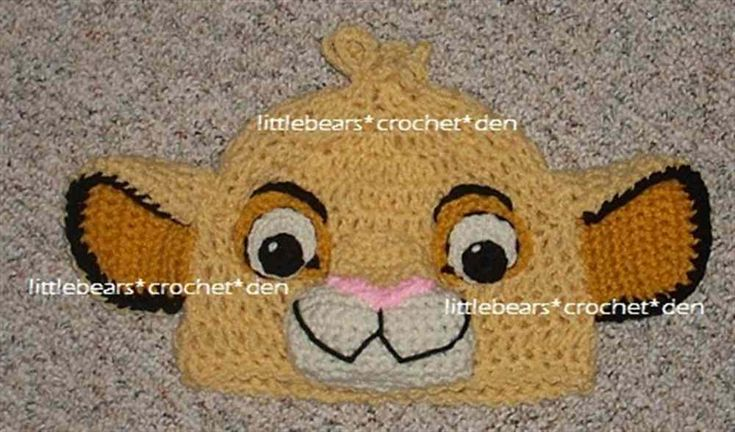 LION KING DISNEY CUSTOM CROCHETED Boutique SIMBA Beanie Hat (Product Front)
