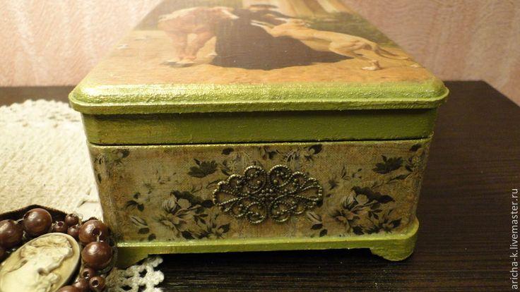 """Купить """"Прогулка"""" - зеленый, ручная авторская работа, ручная работа, шкатулка для украшений, шкатулка декупаж"""