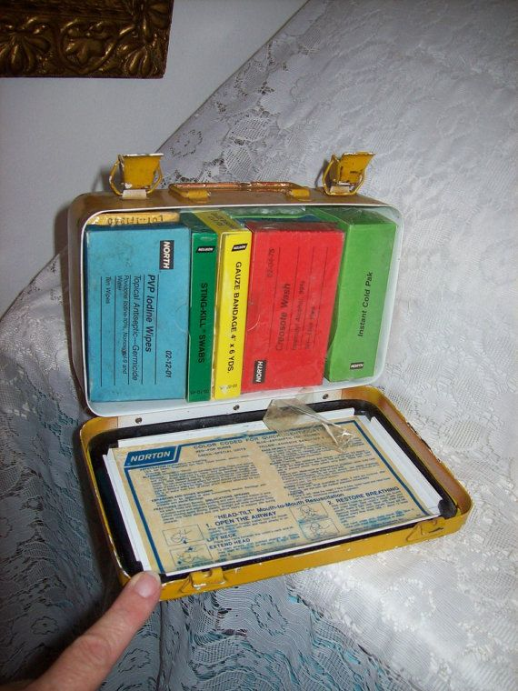 Vintage Metal First Aid Kit Box w/ Contents by by SusOriginals