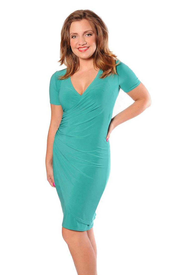 Here is our classic Short Sleeve Wrap Dress. Super flattering with the pulled rouging that hides our little flaws and gives us an hour glass at the same time!