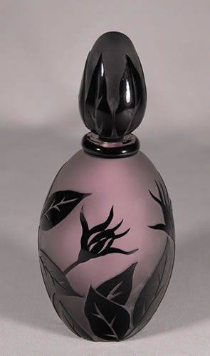 Pink & Black Perfume Bottle with Flowers