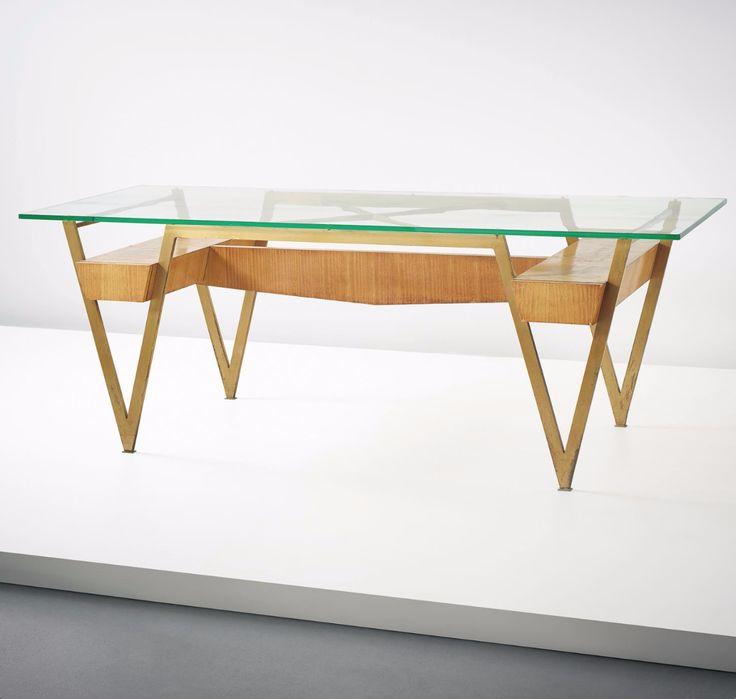 Melchiorre Bega Attributed; Brass, Glass, Maple-Veneered Wood Desk, c1959.