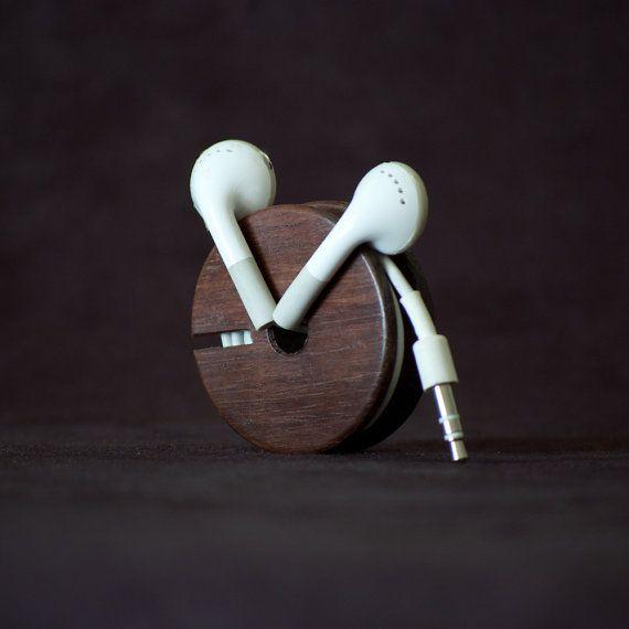 Wood Earbud Holder / Earphone Organizer - East Indian Rosewood by Etsy