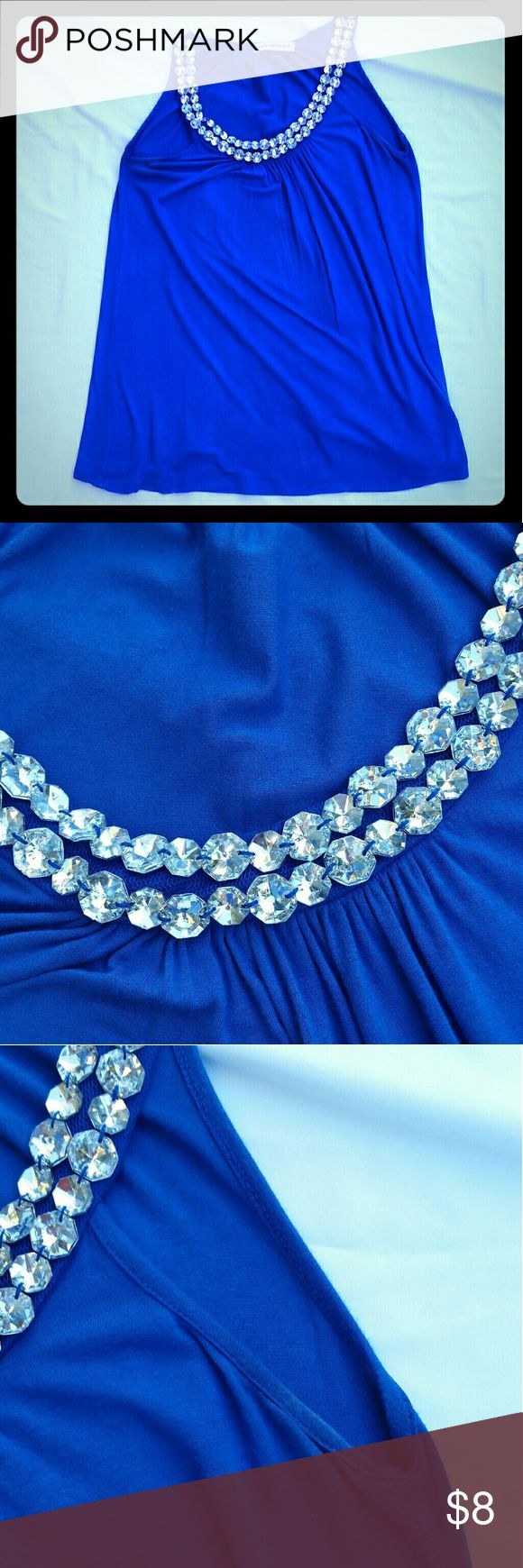 Body Central Royal Blue Sleeveless Top Gorgeous Royal Blue Cotton Top with Rhinestones around the neckline. Bedazzled embellished Juniors Women's Girls. ***there is some darkening under the arm area. Please look at picture Body Central Tops Blouses
