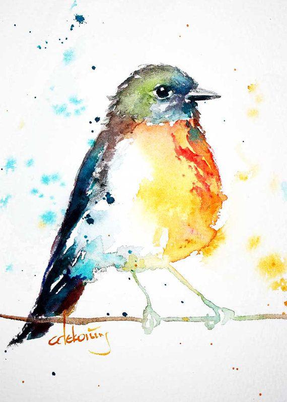 Printemps Robin oiseau coloré d'Aquarelle art par christydekoning, $20.00