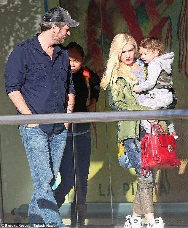 Bonding with kids: Voice co-stars Blake Shelton, 39, and Gwen Stefani, 46, have been seen out and about on multiple occasions, including with Gwen's children. (Pictured on Friday in Studio City with son Apollo, aged one)
