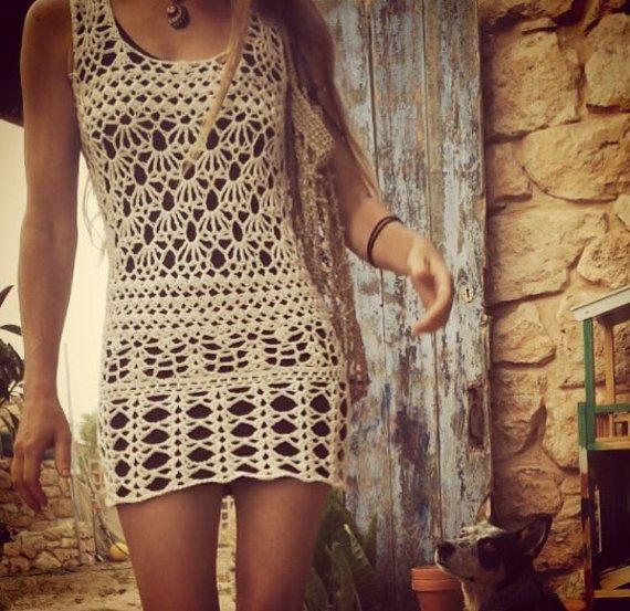 Boho crochet mini dress