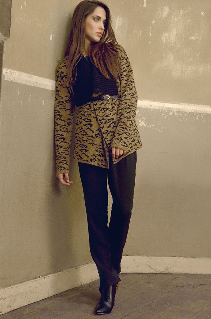 Sarah Lawrence - jacquard knitted cardigan with oversized collar, draw string loose trouser, leather belt.