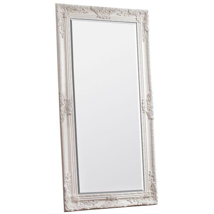 Full Length Leaner Mirror Cream Colour Wooden Frame Bathroom Bedroom Decoration