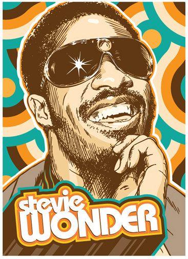 Stevie Wonder Pop Art Print 18x24 via Etsy    by  RedRobotCreative
