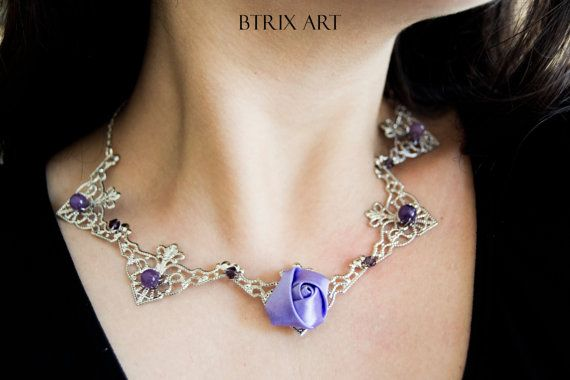 Lilac Rose necklace  Filigrana argentata  stile di BtrixArt