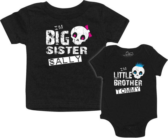 Personalized big brother/sister and little brother/sister skull t-shirt set. Mix and match sizes, just let us know what you need.    Ordering