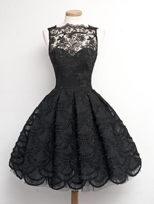 #little black dress #vintage dress #2015 homecoming dresses #short lace dress #prom dress #party dress