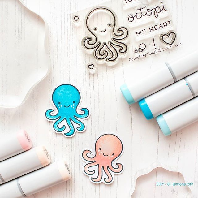 #thedailymarker30day by @kathyrac I am still late, but I feel better, so today I post 2 days together this is the [day-8]  and the [day-9] is comming soon :) Thank you for your kind comments! ❤️  I colored and fussy cut this #octopi stamps from @Lawnfawn  I used #copicmarkers ❤️ #coloring #lawnfawn #cardmaking #handmadecard  #copiccoloring backdrop from: @photoboardshq #photoboardshq