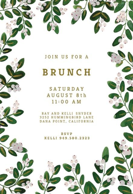 White Bloom Brunch Lunch Invitation Free Party Templates Invitations