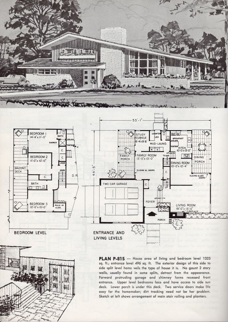 60's two-story plan: Living Room and Family Room with lots of windows and sunlight...