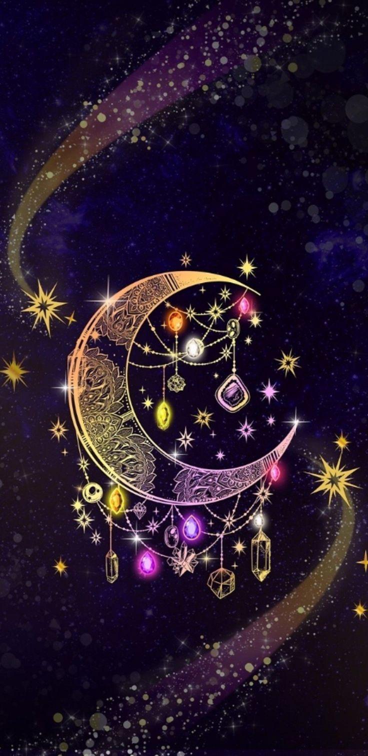 Love moon art witchy goddess Gothic wallpaper, Art