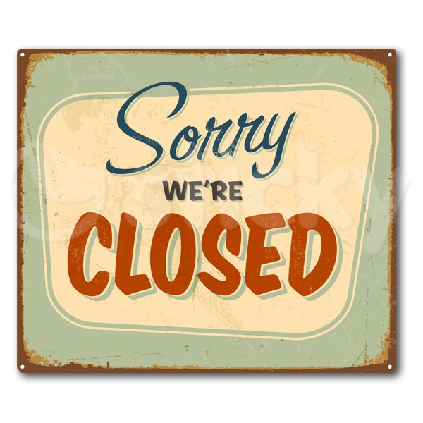 Canvas print RETRO SIGNS CLOSED by Sticky!!!