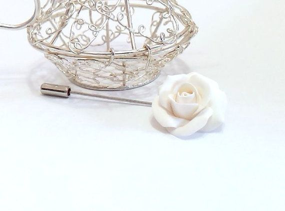 White Roses  Boutonniere, Rustic Groom Buttonhole, Woodland Lapel pin, Groom Boutonniere, White Roses Brooch