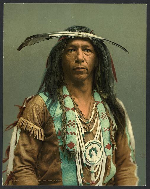 Arrowmaker, an Ojibwa brave, USA, circa 1890.