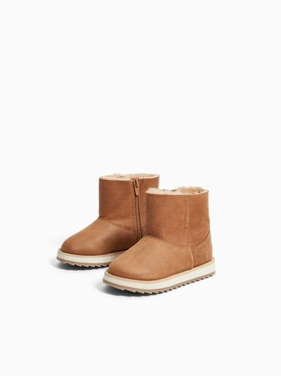 15496deb ZARA - Unisex - Lined leather boots - Natural leather color - 6½ (5.3  inches)