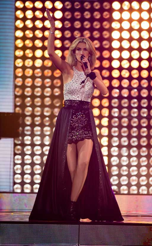 Delta Goodrem (The Voice 2013) Alex Perry top, Constantina and Louise skirt, Alexander McQueen shoes. via http://www.thevoice.com.au/style.html