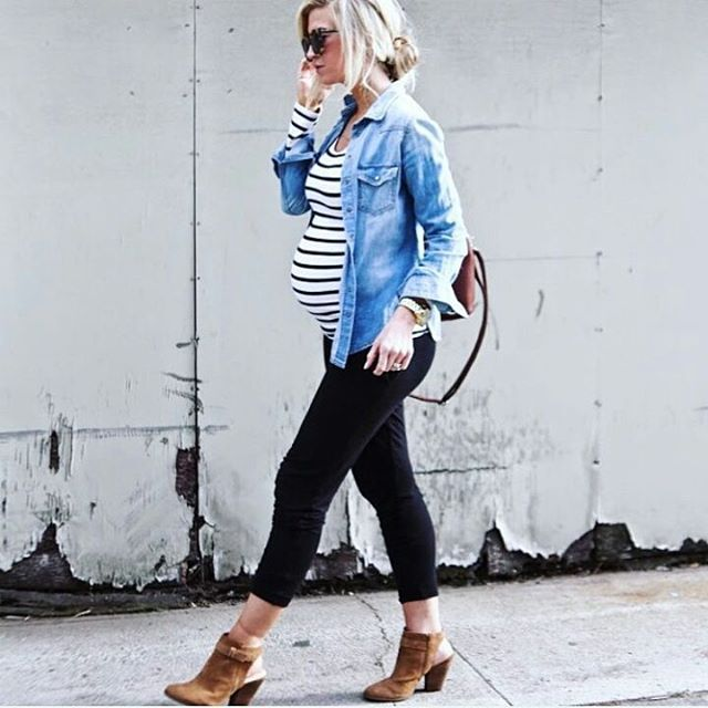 Casual Street Chic!  @leannebarlow looks absolutely amazing!  #chicmom #stylishmom #stylethebump #9monthsofchic #bumpstyle #ootd