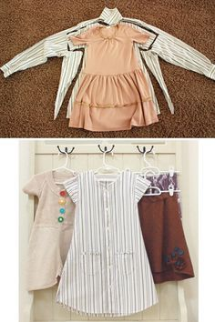 I have a ton of my husband's old shirts stored in the closet to do this! Such a great way to repurpose clothes and you know that dress will be cherished forever!