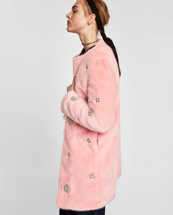 Image 6 of BEJEWELLED FAUX FUR COAT from Zara