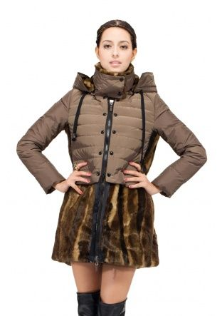 Winter Dancer/apricot waterproof(100% goose filler) with faux golden mink fur hem and hat/middle down coat