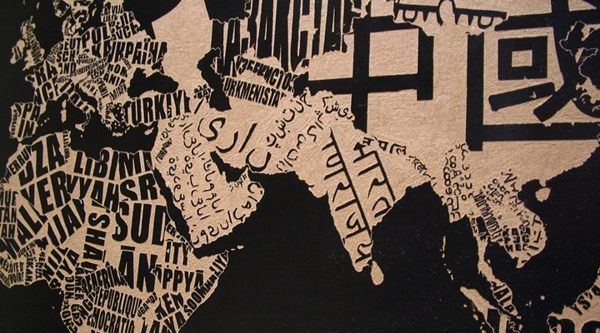 word world by teokon , via Behance  #woodcuts #typo #typography #countries #languages #dialects