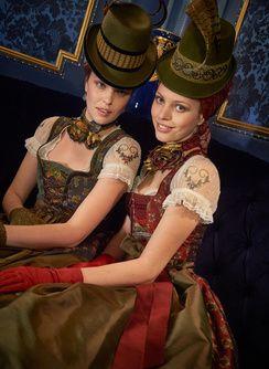 Широкая юбка в сборку Hehenberg (слева) широкая юбка в сборку блузка Stadlhof 70см ... Валери Kropfband Венди