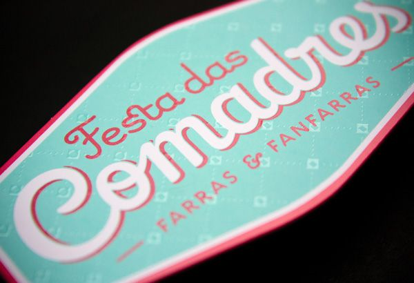 Festa das Comadres Business Card. Silkscreen on heavy paper, varnish.