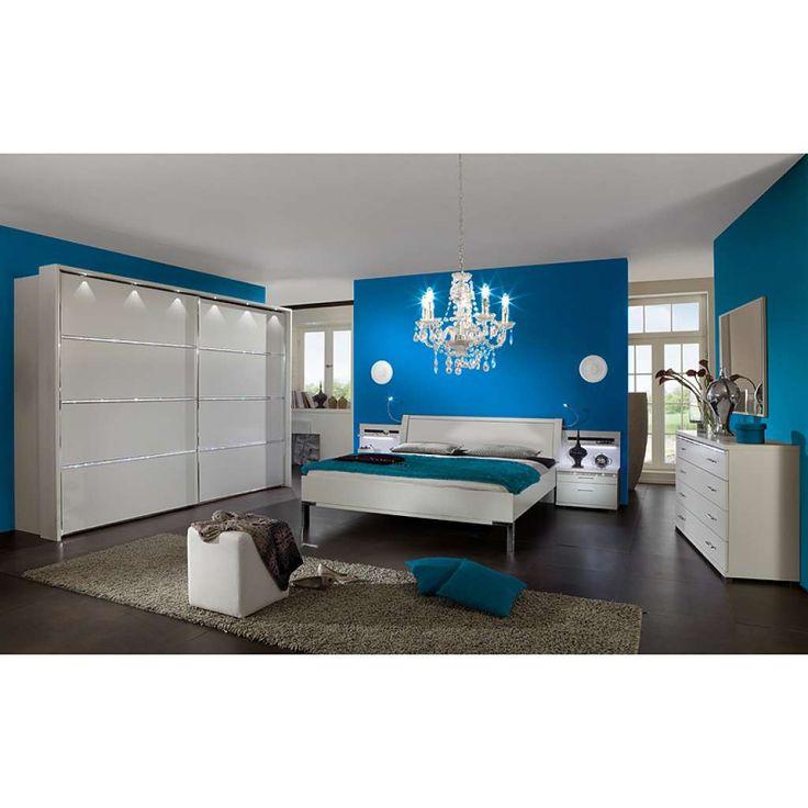 Schlafzimmer Set RINOA221 Eiche Havanna Nachbildung, Hochglanz weiß