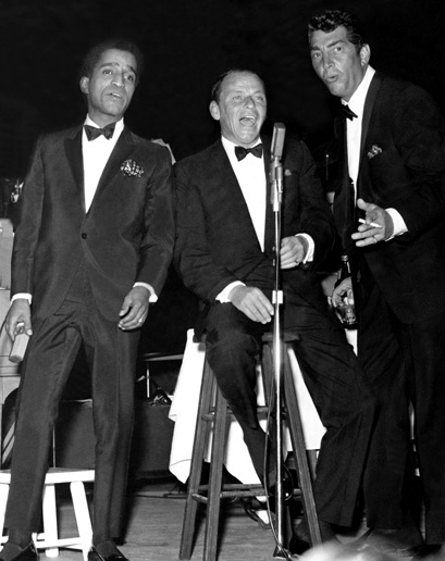 Sammy, Frank and Dean in performance at the Sands Hotel in Vegas. web photo during a Sands Hotel performance of the Rat Pack - undated - MReno