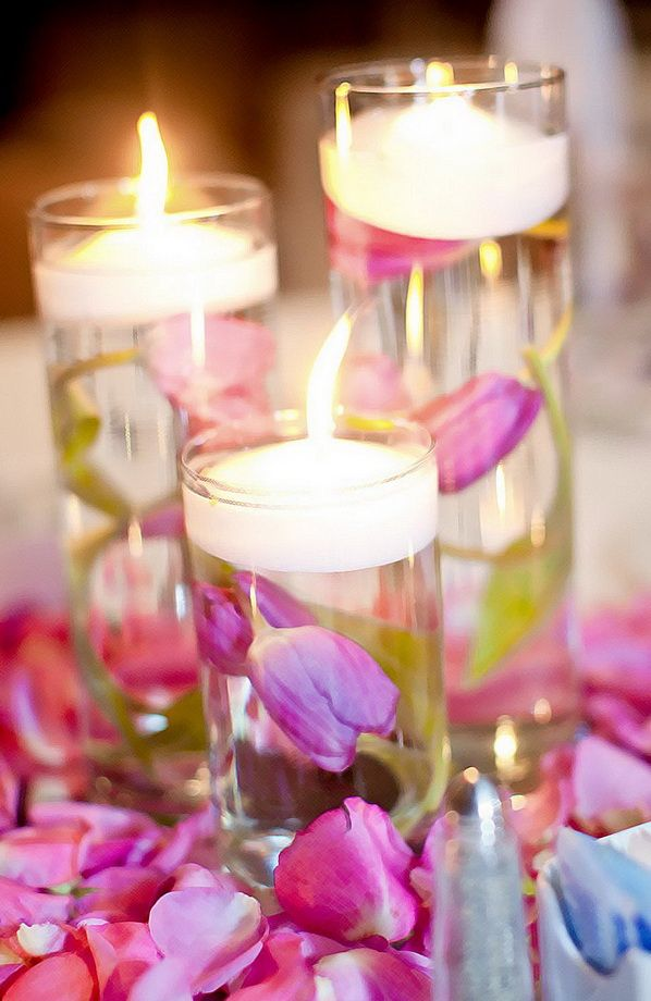 Floating flowers and candle centerpieces for valentine s