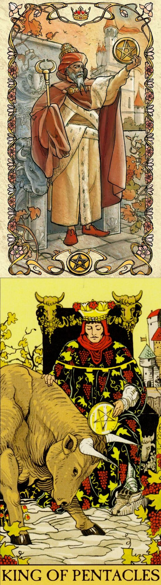 King of Pentacles: financial success and infinite desire for more things (reverse). Mucha Tarot deck and After Tarot Tarot deck: tarot rune bag, alison day free tarot reading and free physic reading online. The best predictions future and divination methods. #tarotspread #application #altar #pagan #tarotmeanings #spells