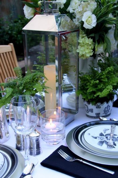 Table setting: Gardens Party, Tables Sets, Dinners Party Decoration, Candles, Flower Gardens, Tables Decoration, Party Tables, Ferns, Lanterns