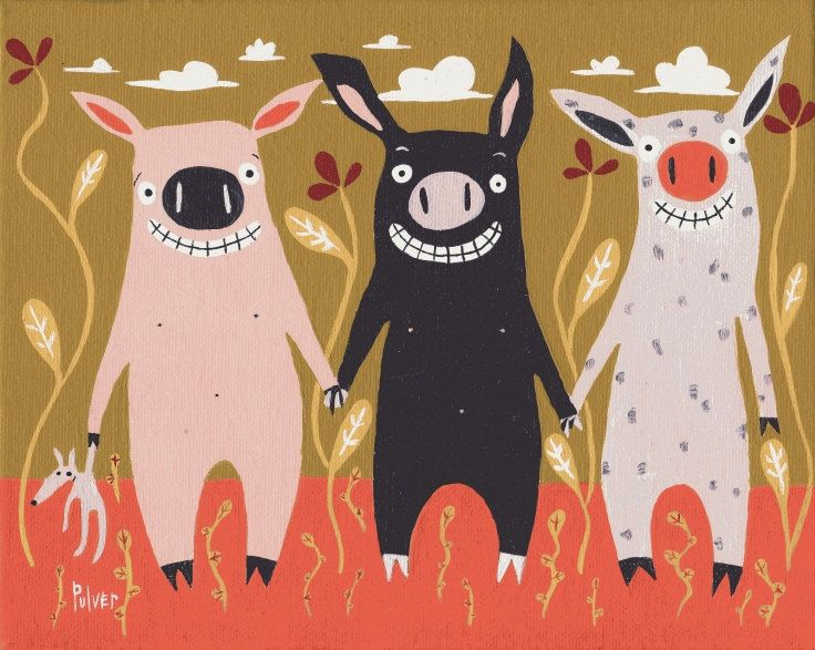 Pig Art Print Three Little Pigs Artwork
