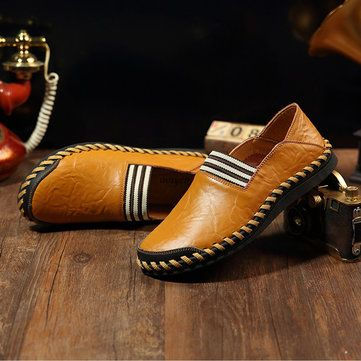 Genuine Leather Men Soft Slip On Loafers Casual Shoes - US$44.99