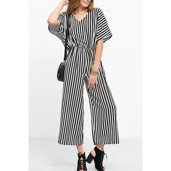 Black White Stripe V Neck Wide Leg Jumpsuit ($32) ❤ liked on Polyvore featuring jumpsuits, jump suit, black and white jumpsuit, wide leg jumpsuit, fancy jumpsuits and striped jumpsuit
