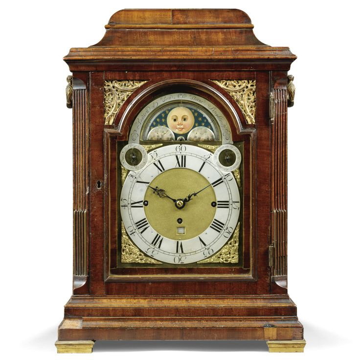 A mahogany chiming table clock, English, 18th and 19th century 9-inch dial with rococo spandrels, matted centre with calendar aperture, subsidiary dials on the upper corners for chime/silent and chime selection, the arch with a painted moon disc below an arc signed Lawson & Son, Old Steine, Brighton, the substantial three train fusee movement signed Joseph Lum, London , formerly a musical movement and now re-trained for quarter chiming on eight bells