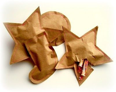 Sewn brown paper. Stuff goodies inside - How cute! Could use these instead of tags for a little extra gift. (*R*)