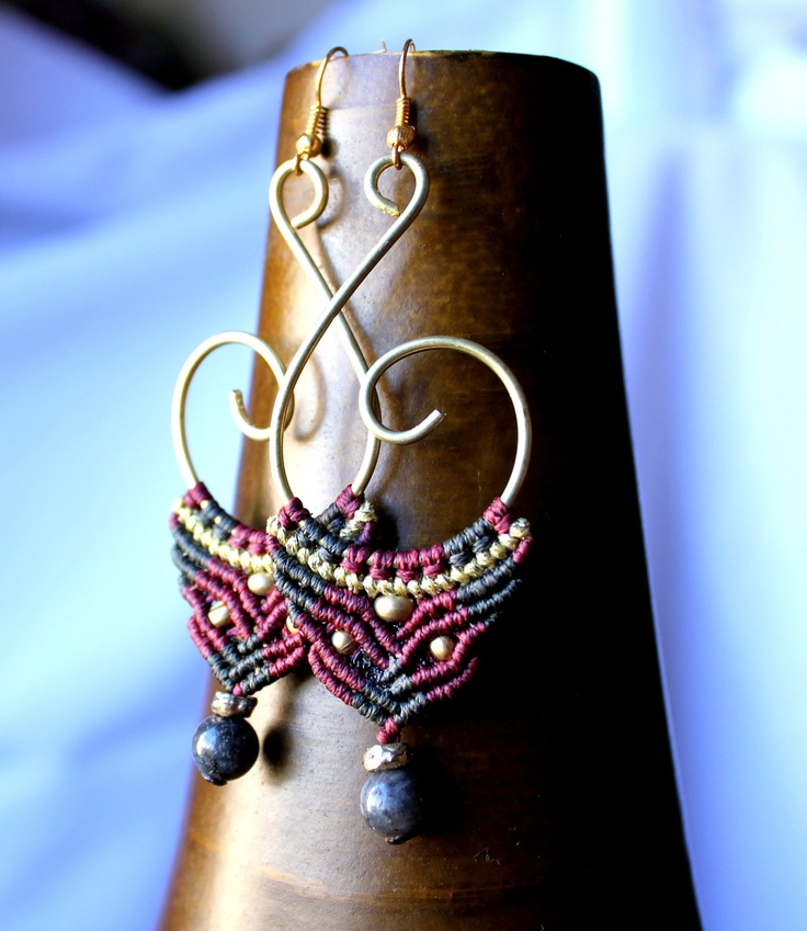 Red and Green macrame Earrings Brass by stoneagetale on Etsy, via Etsy.