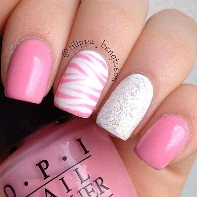Nail Paint Nail Polish Pink Manicure Lovely Nail Art Opi White Silver Pretty Girly