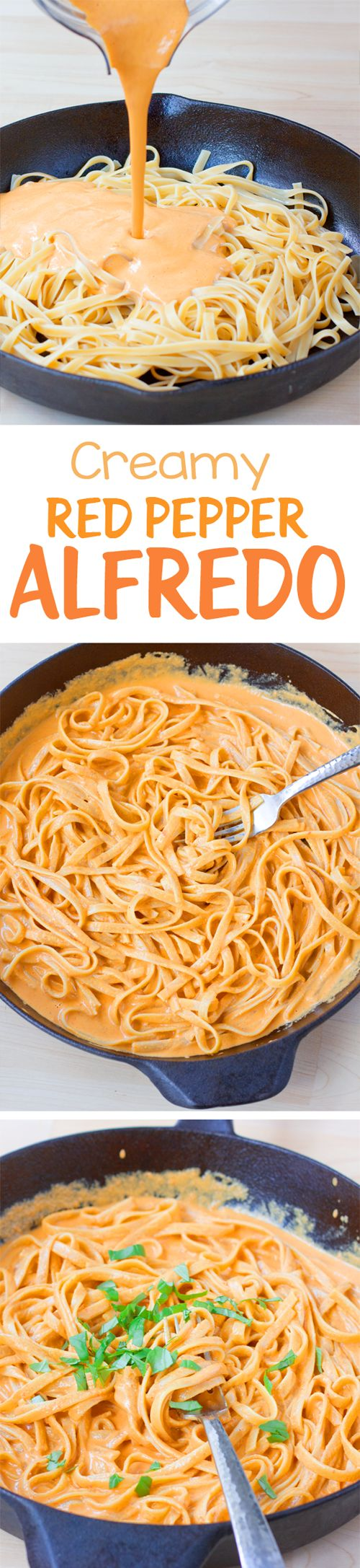 This has become one of our favorite dinners, and the creamy sauce is delicious. The vegan pasta recipe for red pepper alfredo is highly recommended! #pastafoodrecipes