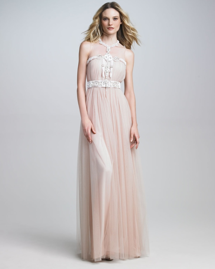 Sooo pretty...Naeem Khan Illusiontop Embroidered Gown